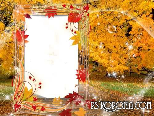 Autumn Frame for photo free psd download – Autumn leaves