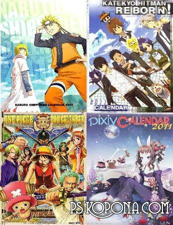 Collection of anime calendars for 2011