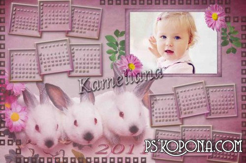 Calendar for 2011 - Pink Rabbit