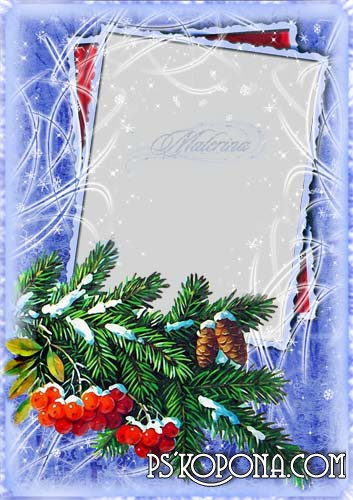 Winter photoframe  for photoshop - a Snow-clad branches of rowanberry