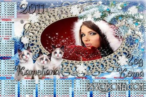 New Year's calendar with cutout for photo First Cat