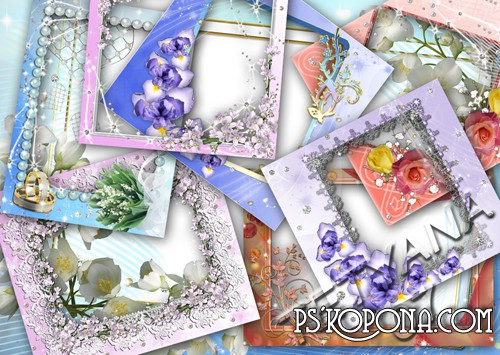 Beautiful Floral Frame #2 (9 frames png)