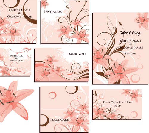 Floral Invitation Cards EPS AI JPEG Preview 113 Mb