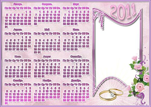 Wedding Calendar Frame 2011 - Rings