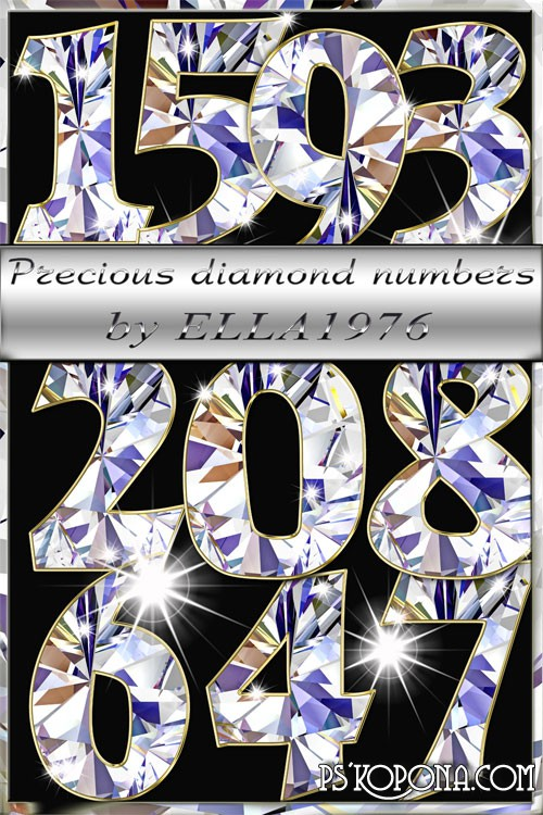 Free Clipart Precios Diamonds PSD Numbers free download