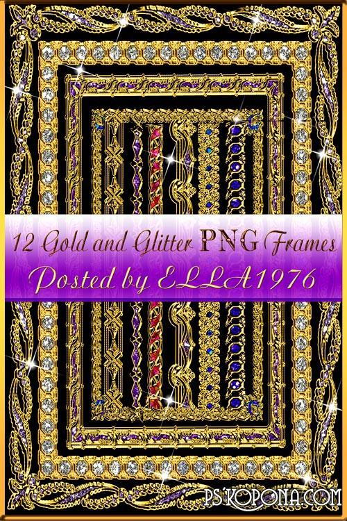 Gold and Glitter PNG Frames 12 PNG 2000x1500 300dpi 1874 MB