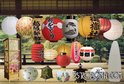Free psd file clipart Japanese small lamps-tyotin and others