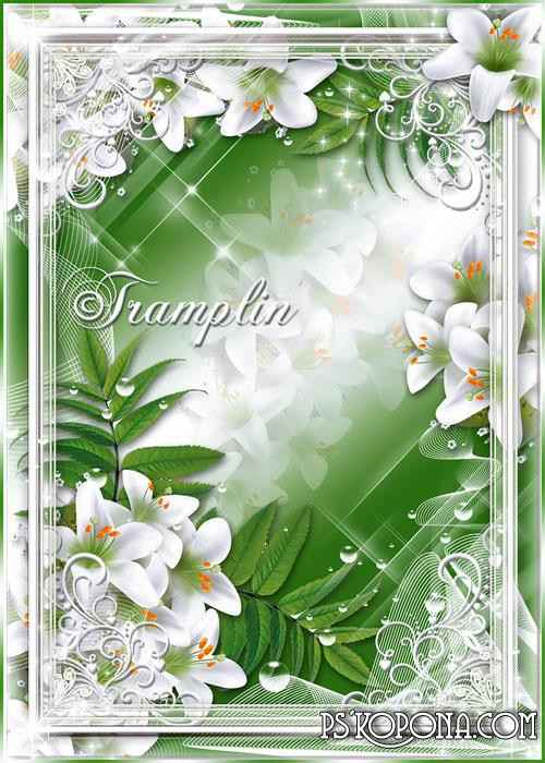 Picture frame with lilies - as if woven of white mist