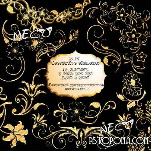Golden floral and decorative elements PNG free download