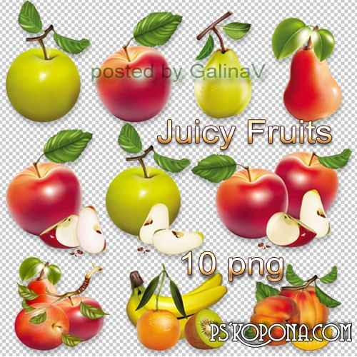 Clipart Juicy Fruits on transparent background free download