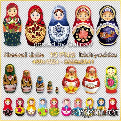 Matryoshka, Russian wooden toy Nested doll - Clipart PNG on transparent background