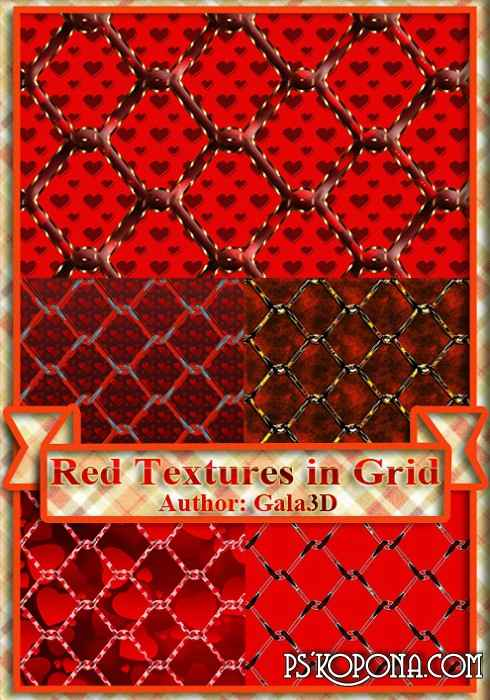Red textures in grid. ( free textures, free download )