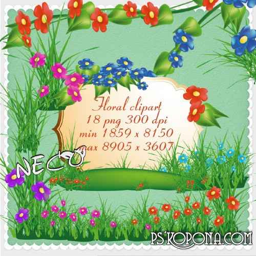 Floral clipart with flowers, grass glades - PNG