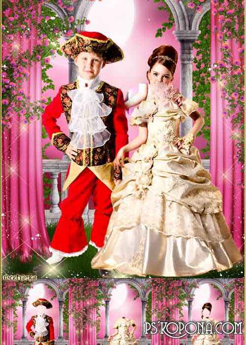 Multi-layered pair child's template - Prince and princess among wonderful roses