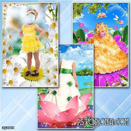 Children's patterns for Photoshop - Girls in the flowers