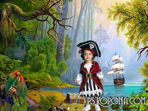 Kids psd templates - On the island of pirates 2