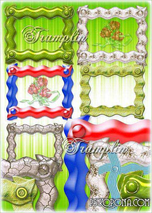 Png ClipArt Wavy frame with rivets, cutouts on a transparent background