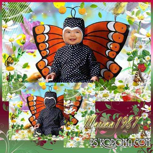 Children psd template  for Photoshop - Little Butterfly ( free psd file, free download )