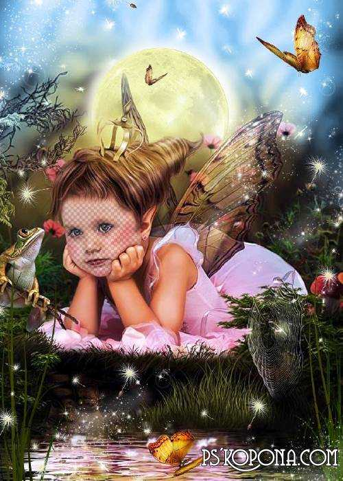 Child`s template for photo of the montage - The Timber fairy free download