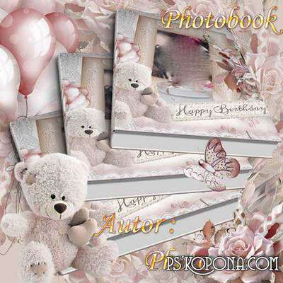Beautiful photo album template psd - My birthday