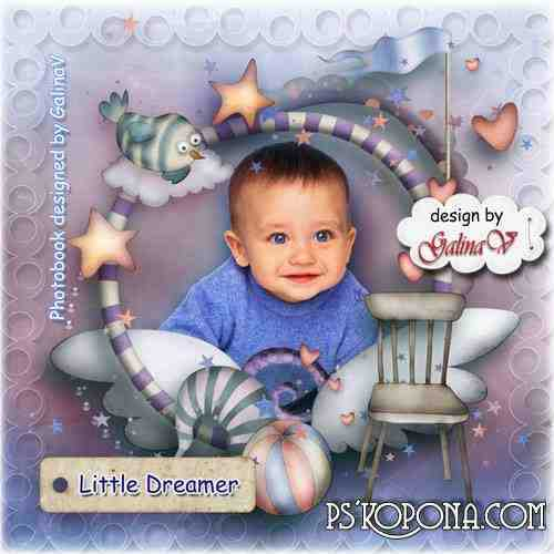 Photobook template psd for Baby Boy - Little Dreamer