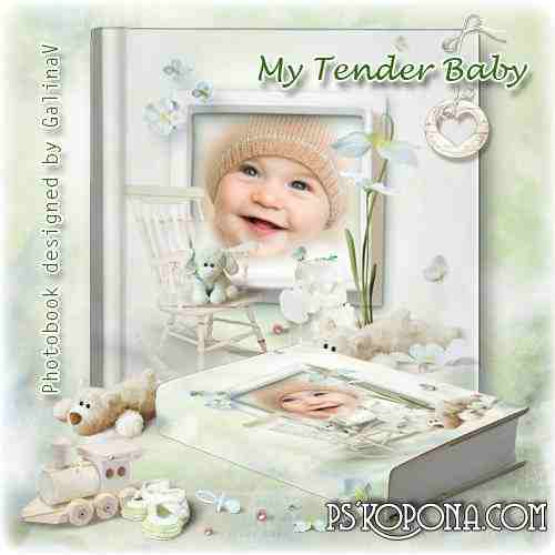 Photobook template psd for Newborns - My Tender Baby