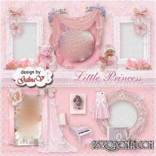 Photobook template psd for Baby Girl - Little Princess