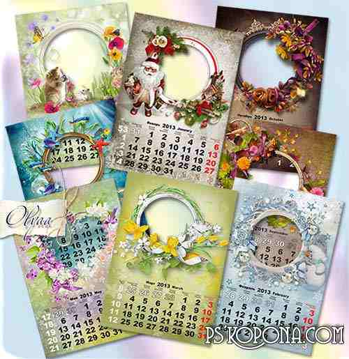Wall calendar for 2013 with a frame - Seasons