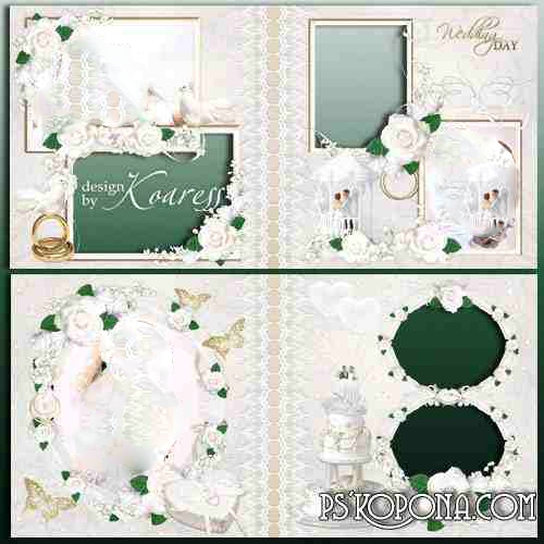 Wedding photobook template psd - Sea of white roses in a wedding bouquet