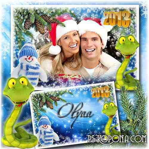 The New Year's frame for a photoshop with a symbol of 2013, a snake - The holiday comes nearer