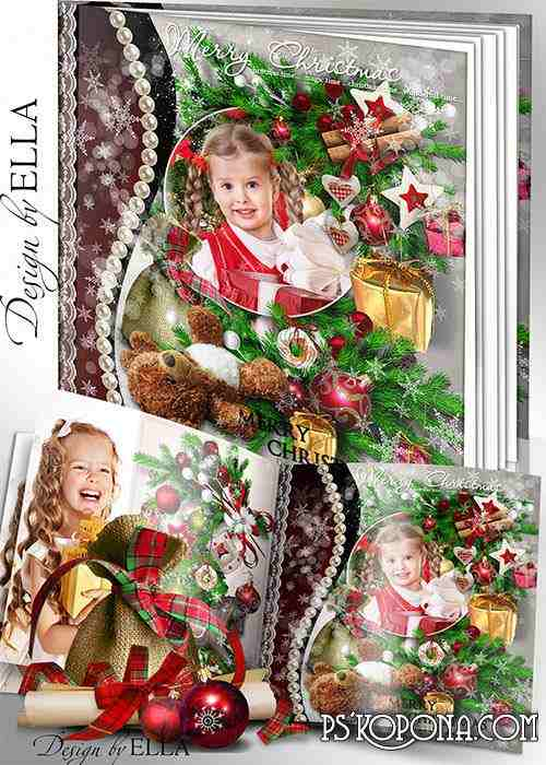 Beautiful Christmas photo book template psd and clusters- Bright Christmas Holiday