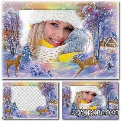 Winter frame for photo - with deer (free frame psd + free frame png)