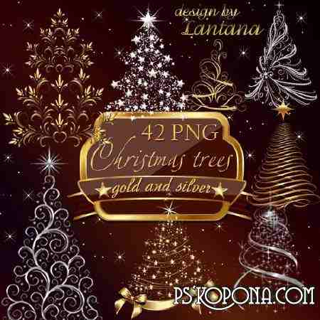 Free Clipart png for Photoshop - Gold and silver Christmas fir tree png images  ( free png, free download )