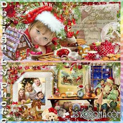 Beautiful Christmas photo book template psd - a visit from Santa Claus