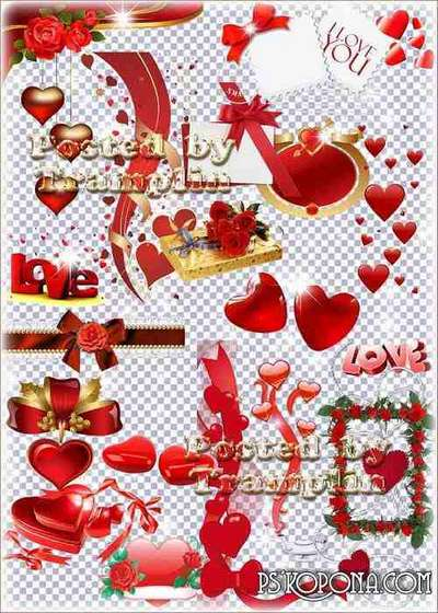 Clipart on a transparent background by Valentine's Day – Separate elements and compositions