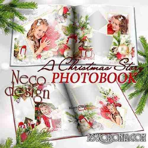Winter Christmas photo book template psd - A Christmas Story