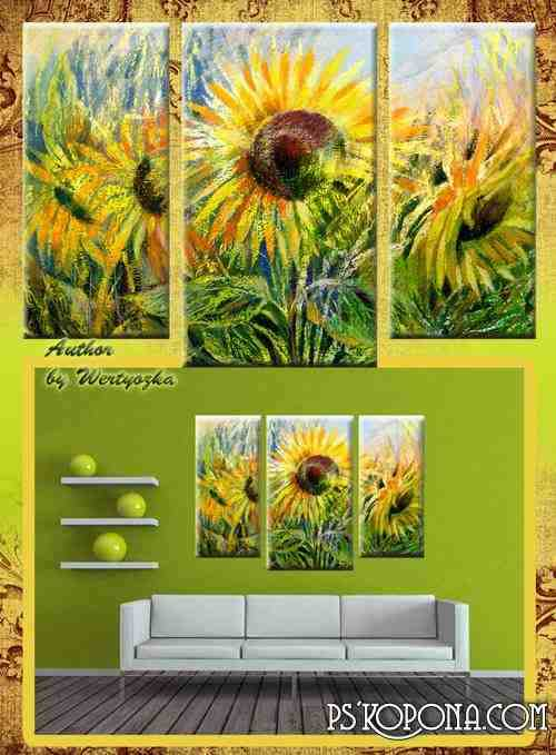 Triptych in psd format - Sunflowers