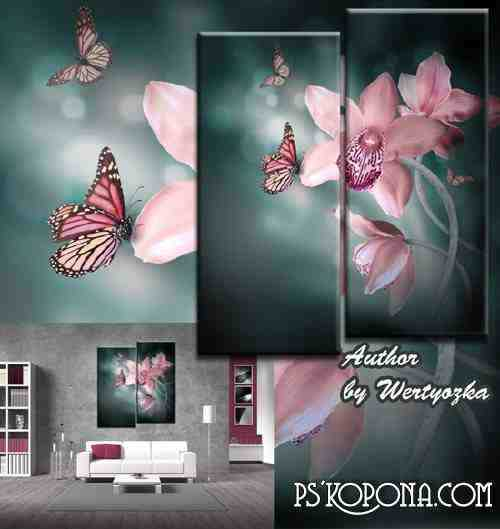 Diptych in psd format - Exotic flowers orchids and butterflies