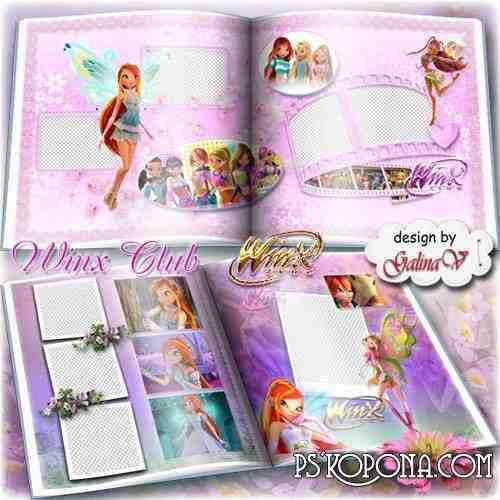 Cartoon Photobook template psd for Girls - Winx Club
