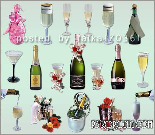 Clipart for Photoshop - Champagne bottle, glasses and wine glasses with champagne