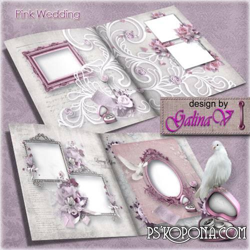 Vintage Photobook template psd - Pink Wedding