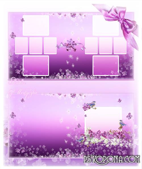 Photo book template psd - Wonderful lilac blossomed