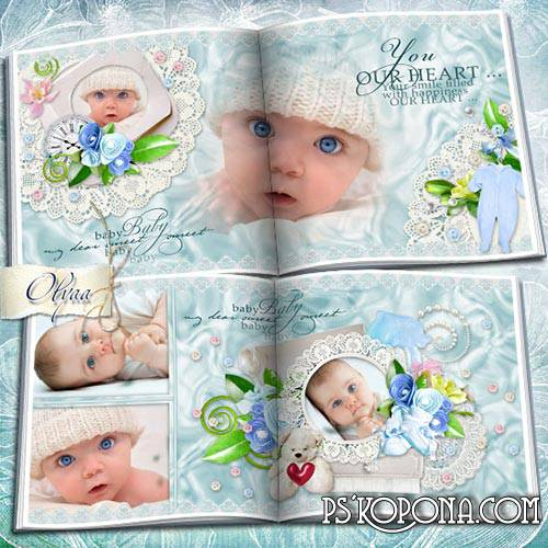 The children's photobook template psd for the boy - My little angel