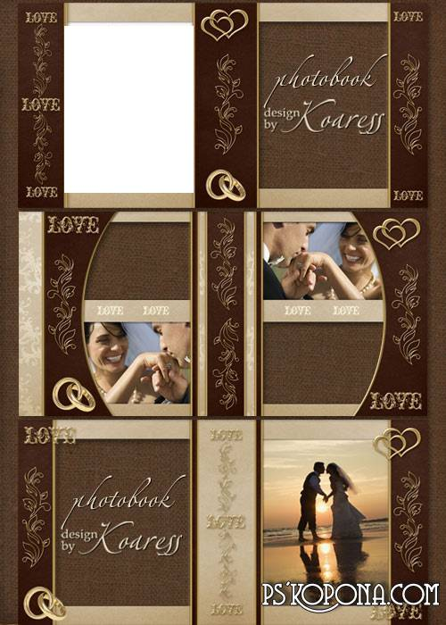 Wedding vintage photo book template psd in brown and beige tones with gold decorative elements for Photoshop - Love, Love, Love