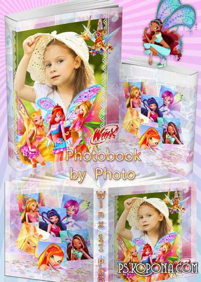 Baby colorful photobook template psd for girls from the m/s Winx