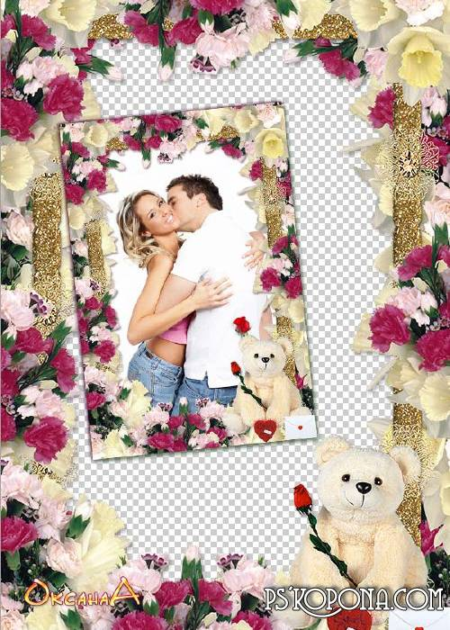 Frame with flowers and a bear - All flowers at your feet
