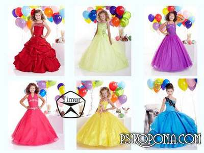 Children templates for Photoshop - Beautiful dresses