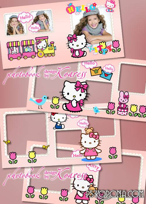 Children photo book template psd - Hello Kitty