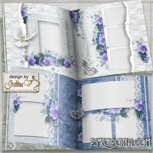Romantic Photobook template psd - Violet Wedding