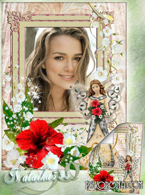 Frame for Photoshop - Angel with flowers